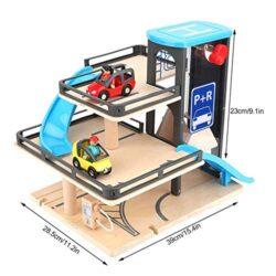 Zerodis Parcheggio Modello Lega Di Legno Tre Strati Car Garage Track Auto Giocattolo Sviluppare Brain Game Educazione Precoce Cognizione Giocattolo Compleanno Natale Regalo Per 3 4 5 6 Anni Bambini 0