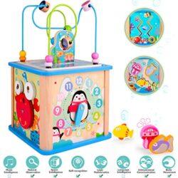 Rolimate Cubo Di Apprendimento Centro Attivit Il Regalo Di Natale Di Compleanno Per Bambini 1 2 3 Anni Giocattoli Prescolari In Legno 0