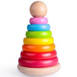 Rolimate Giocattolo Educativo Di Legno Giocattolo Impilatore Ad Anelli In Legno Per Neonati Rainbow Tower Giocattoli In Legno Rainbow Stacking Per Neonati E Bambini Grandi 20125cm 0