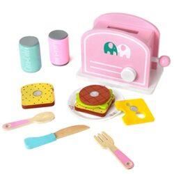 Yoptote Legno Tostapane Accessori Cucina Cibo Macchina Pane Set Colazione Gioco In Legno Ruolo Giocattolo Per Bambini Rosa 0