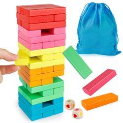 Coogam Blocchi Di Legno Gioco Impilabile Con Custodia Puzzle Colorati Bilanciamento Giocattoli Apprendimento Educazione Ordinamento Giochi Per Famiglie Giocattoli Montessori Regali 0