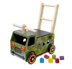 I M Toy Carretto Camion Militare Primi Passi Con Cubi In Legno Im87850 0