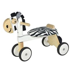 Im Toy Portatutto A Zebra In Legno Primi Passi A Cavallo A Bici A 4 Ruote A Forma Di Animale Per Bambino Da 1 Anno In Bianco E Nero 0