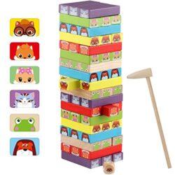 Jacootoys Blocchi Torre Di Legno Colorato Tavola Impilabile Gioco Educativo Da Tavolo 54 Pezzi Per Bambini Eta 3 E Fino 0