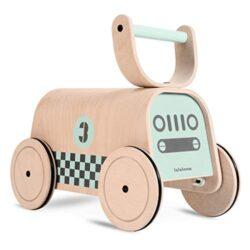 Lalaloom Racer Girello Per Bambini In Legno Verde Carrello Primi Passi Giocattolo Equilibratore Baby Walker Con Ruote 47x23x37 Cm 0