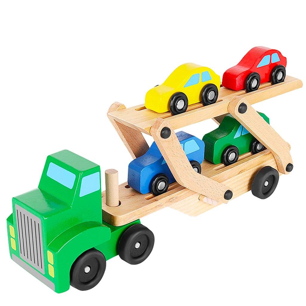 Camion Giocattolo In Legno Con Bisarca Per Trasporto 4 Macchinine Incluse.jpg