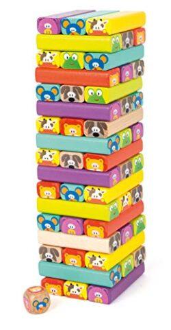 Small Foot 11973 Torre Traballante Zoo Colorato 52 Tessere Con Divertenti Facce E Motivi Di Animali 0